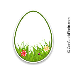 Easter paper sticker eggs with green grass and flowers