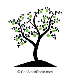 apple tree silhouette isolated on white background