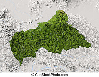 Central African Republic, shaded relief map