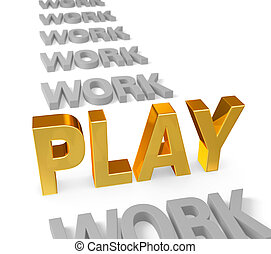 Play Time is Golden - In a long row of dull, gray WORK, a...