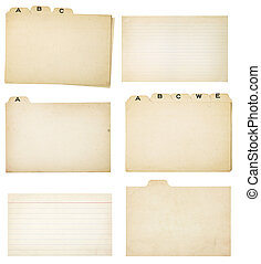 Set of Six Vintage Tabbed Index Cards - Collection of...