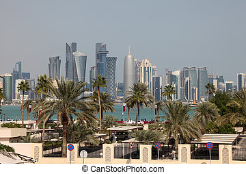 Skyline of Doha downtown. Qatar, Middle East