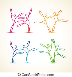 dancing swirly line figures - Colorful swirly line dancing...
