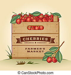Retro crate of cherries - Retro wooden crate of cherries in...