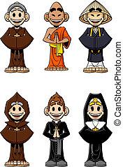 Set of religious - Collection of cartoon religious: Catholic...