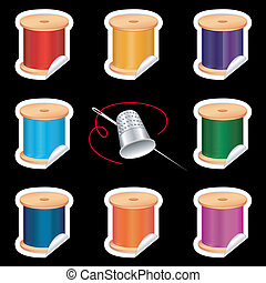 Needle, Threads Stickers, Thimble
