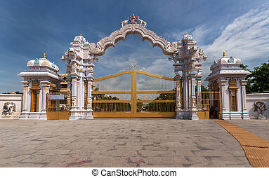 The ornamental entrance gate of Sripuram in Vellore. - The...