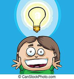 Bright Idea - A cartoon lightbulb shows a girl being struck...