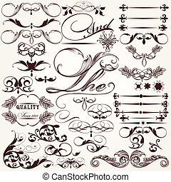 Collection of vector decorative ele - Vector set of...
