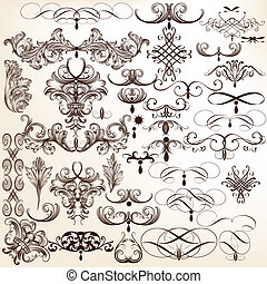 Collection of vector flourishes and - Vector set of...