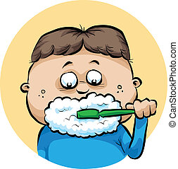 Brushing Teeth - A cartoon boy makes foam while brushing his...