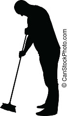 Sweeping Man - A silhouette of a man sweeping up with a...