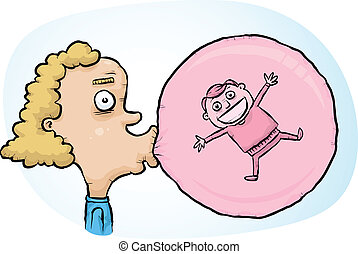 Bubblegum Trap - A cartoon boy happily trapped inside a...