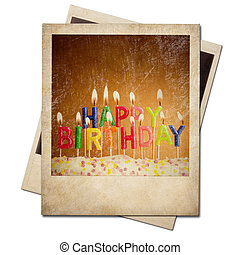 老, 相片, 框架, 即顯膠片, 被隔离, 生日, 蜡燭, 立即