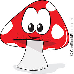 mushroom cartoon character with a smile