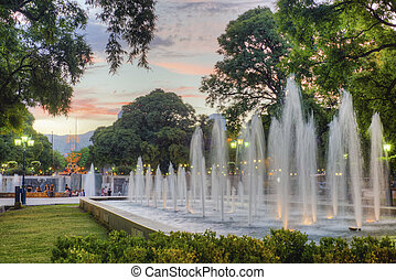 Independence Square in Mendoza city, Argentina -...