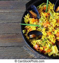 rice with seafood, food closeup