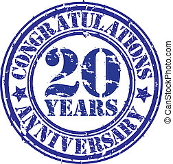 Cogratulations 20 years anniversary grunge rubber stamp,...