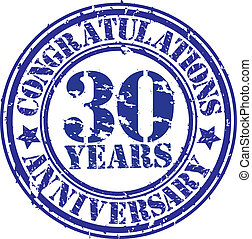Cogratulations 30 years anniversary grunge rubber stamp,...