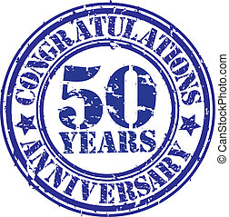 Cogratulations 50 years anniversary grunge rubber stamp,...