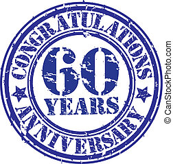 Cogratulations 60 years anniversary grunge rubber stamp,...