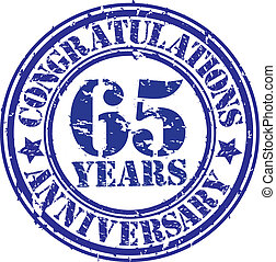 Cogratulations 65 years anniversary grunge rubber stamp,...