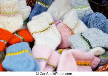 Traditional woollen sox in the handicraft mart