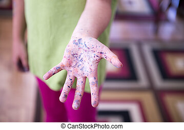 Child with Dirty Hands from Paint, Arts and Crafting