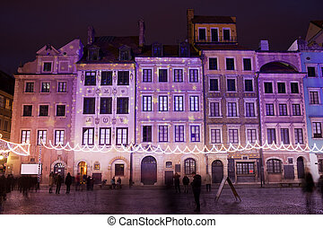 Terraced Historic Houses at Night in Warsaw - Terraced...