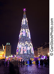 Christmas Tree in Warsaw at Night - Christmas Tree...
