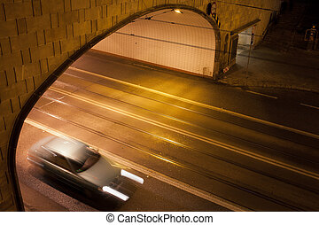 Tunnel Street at Night in Warsaw - Tunnel street at night in...