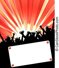 party invitation placard red