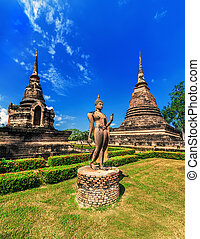 Ancient architecture of Buddhist temples in Sukhothai...