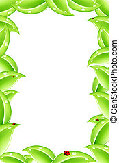 Nature frame - Abstract nature frame with green leafs and...
