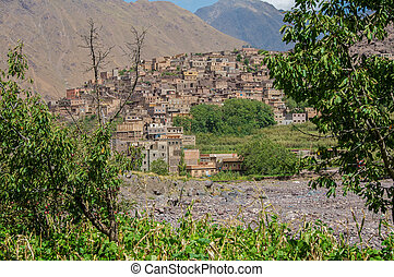 Looking through the trees to Imlil in Morocco - The village...