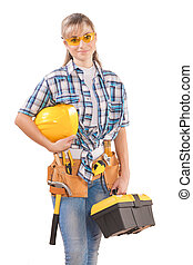 beautiful female wearing working clothes with tools isolated...