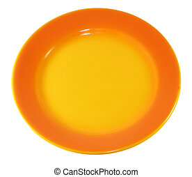 orange plate - bright orange plate on white background