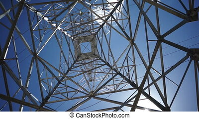 Electrical Tower Pan Around Under - Panning around with a...