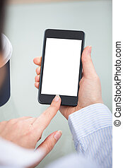 Businessperson Hand On Blank Screen Mobile Phone