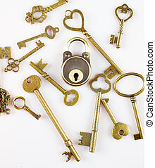 keys and lock - old copper keys with copper lock isolated on...
