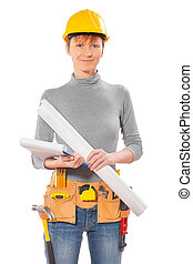portrait of female wearing working clothes with tools...