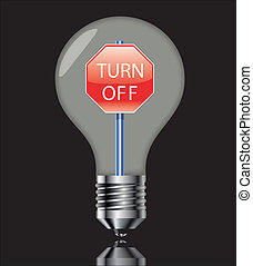 Turn off the light sign with black - Turn off the light sign...