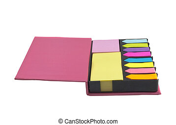 color set of bookmarks and memos, isolated
