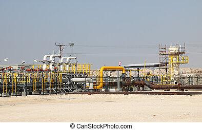 aceite, gas, tubería, desierto, Bahrein, medio, este