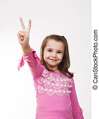 girl showing victory sign with her hand