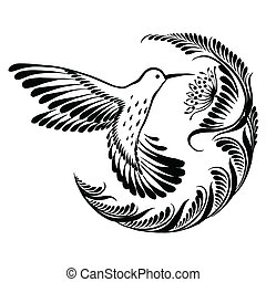 decorative silhouette hummingbird in flight - vector,...