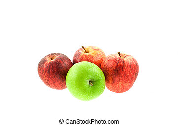 three red and one green apples
