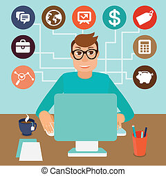 Vector self employed man in flat style - sitting at computer...