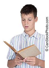 Boy reading book with white background