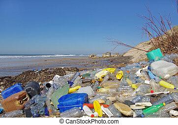 praia, poluído